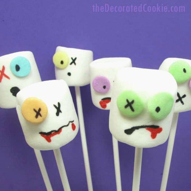 Zombie marshmallow pops