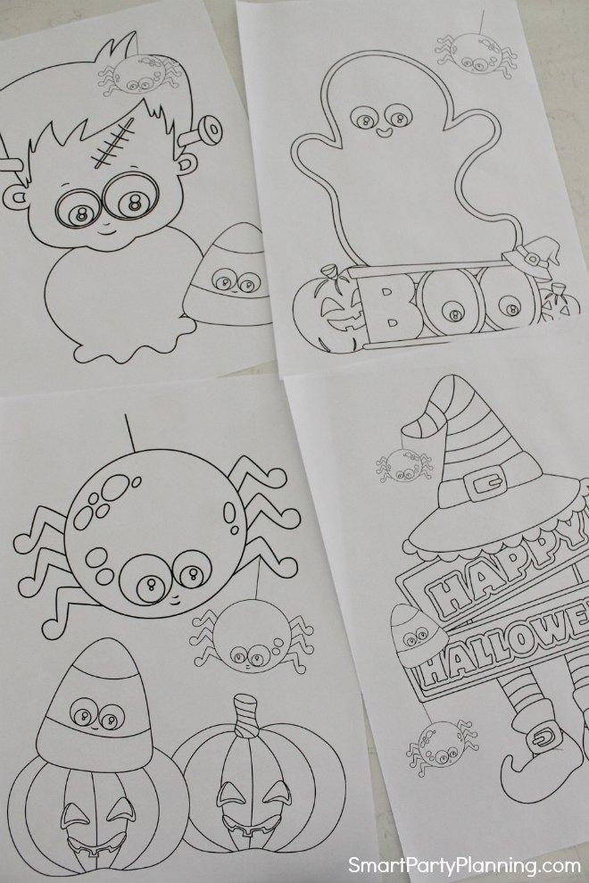 4 printable Halloween coloring sheets