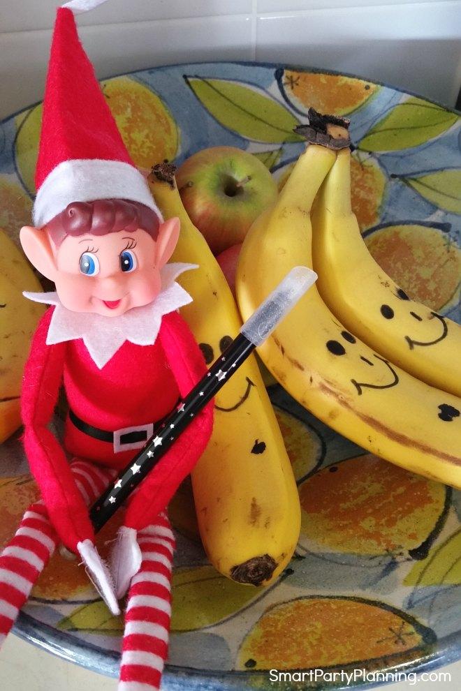 Elf on the shelf drawing on fruit