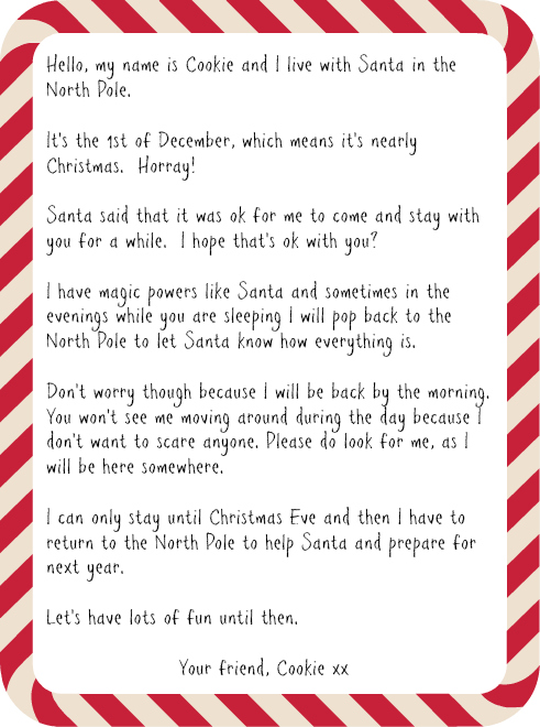 Elf on the shelf hello letter