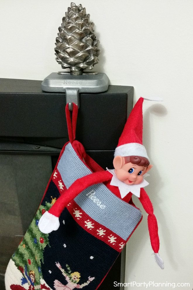 Elf on the shelf in a stocking