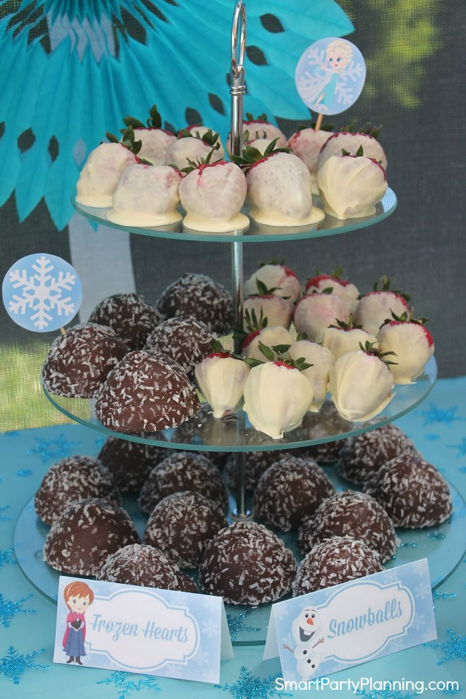 Frozen party hearts and snowballs