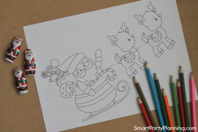 Santa and reindeers coloring sheet