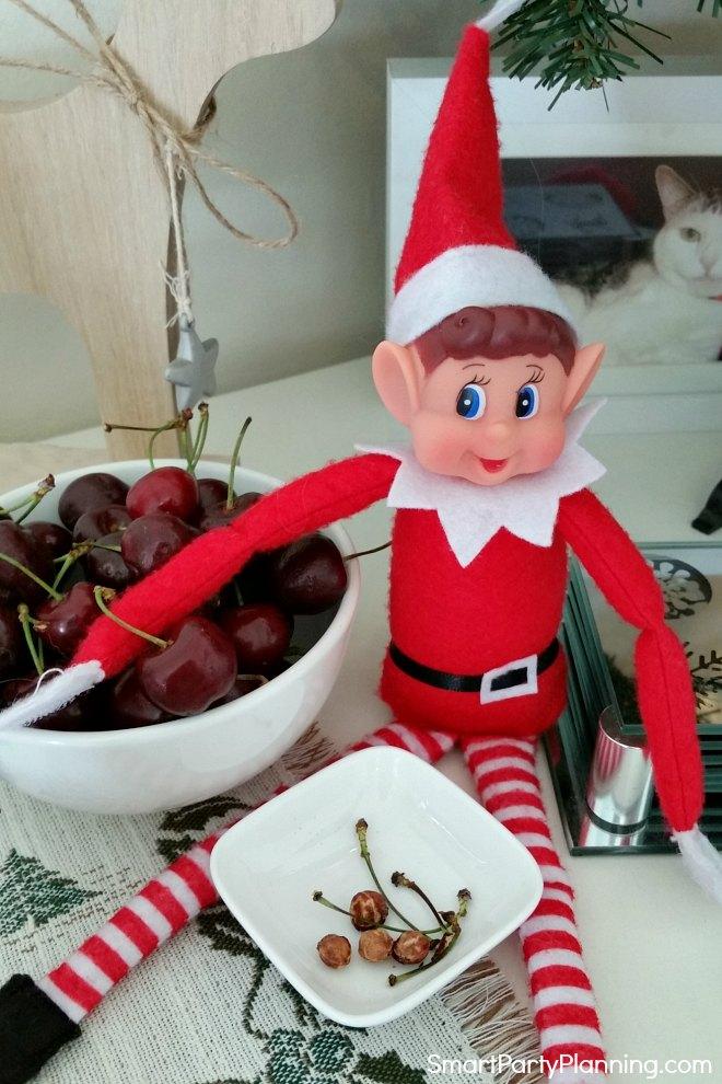 elf on the shelf eats cherries