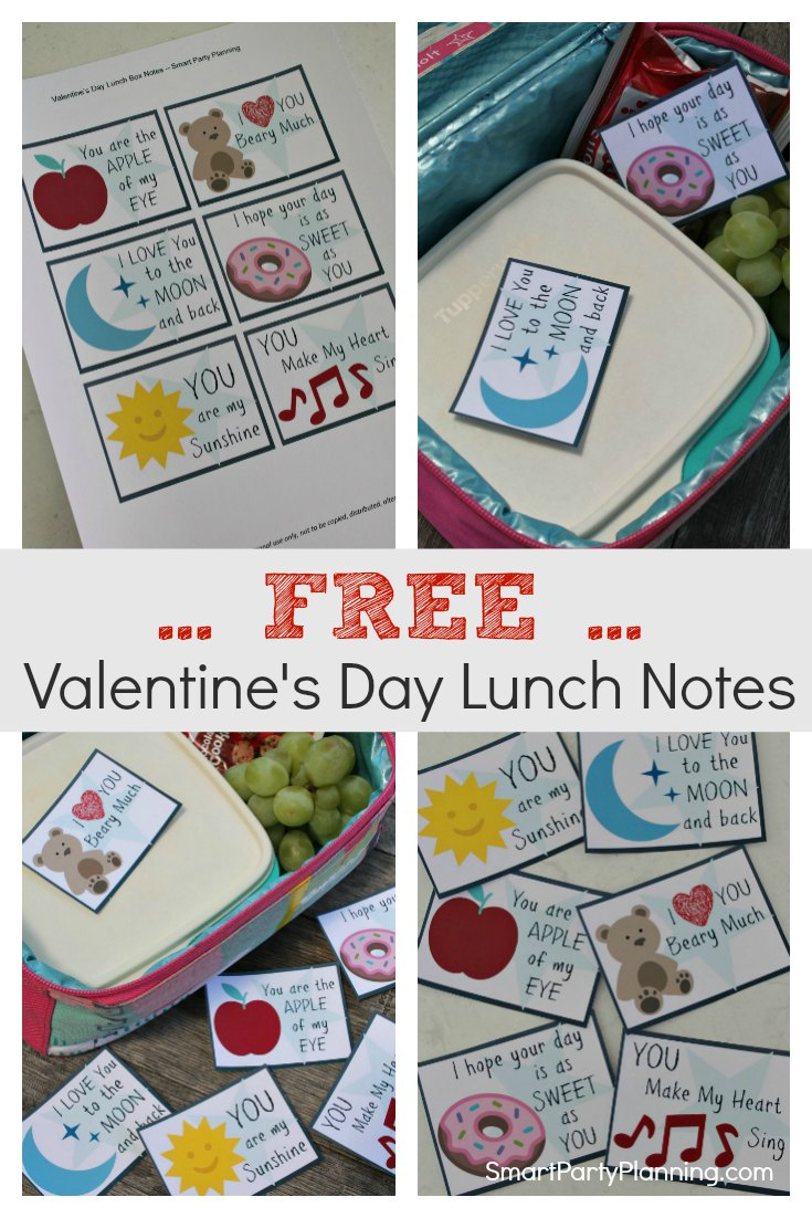Free Valentines day lunch notes for kids