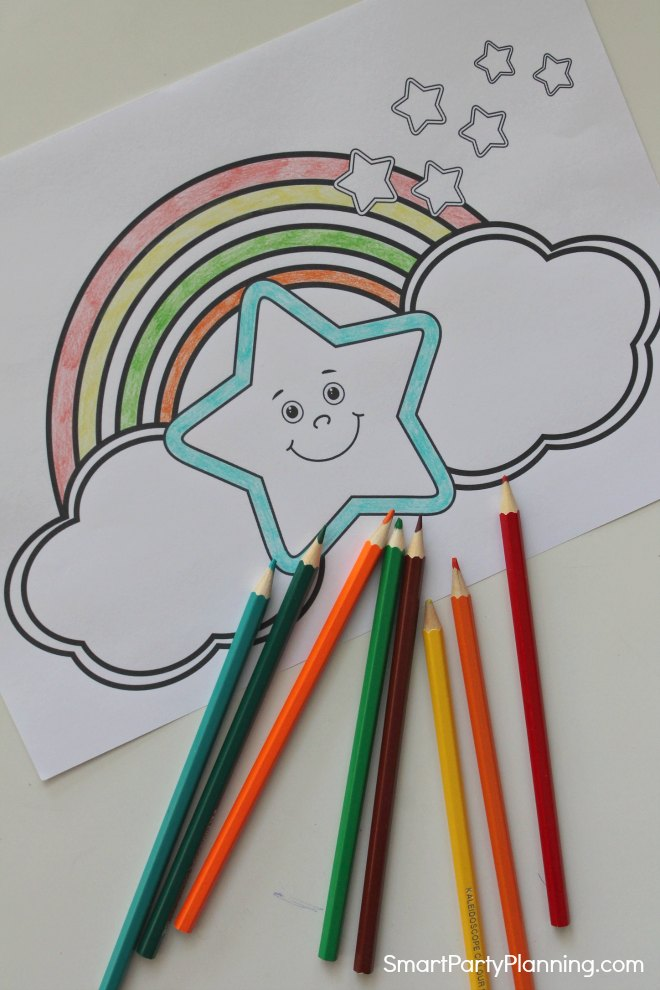 Star and rainbow coloring page