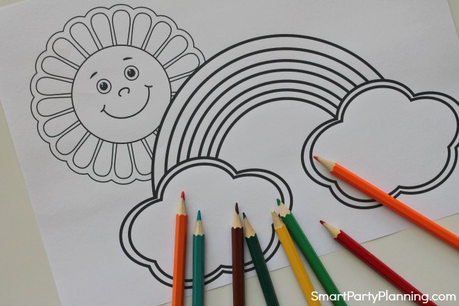 Sun and rainbow coloring page