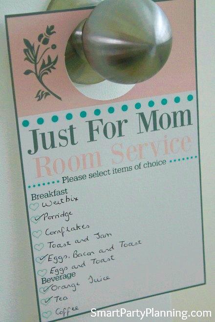 Door Hanger Room Service For Mother's Day