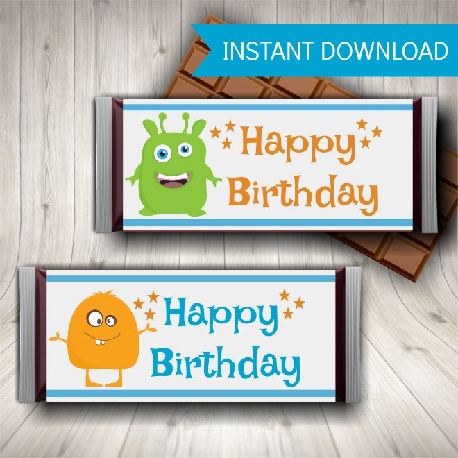 Monster Party Printables - Candy Bar Wrappers