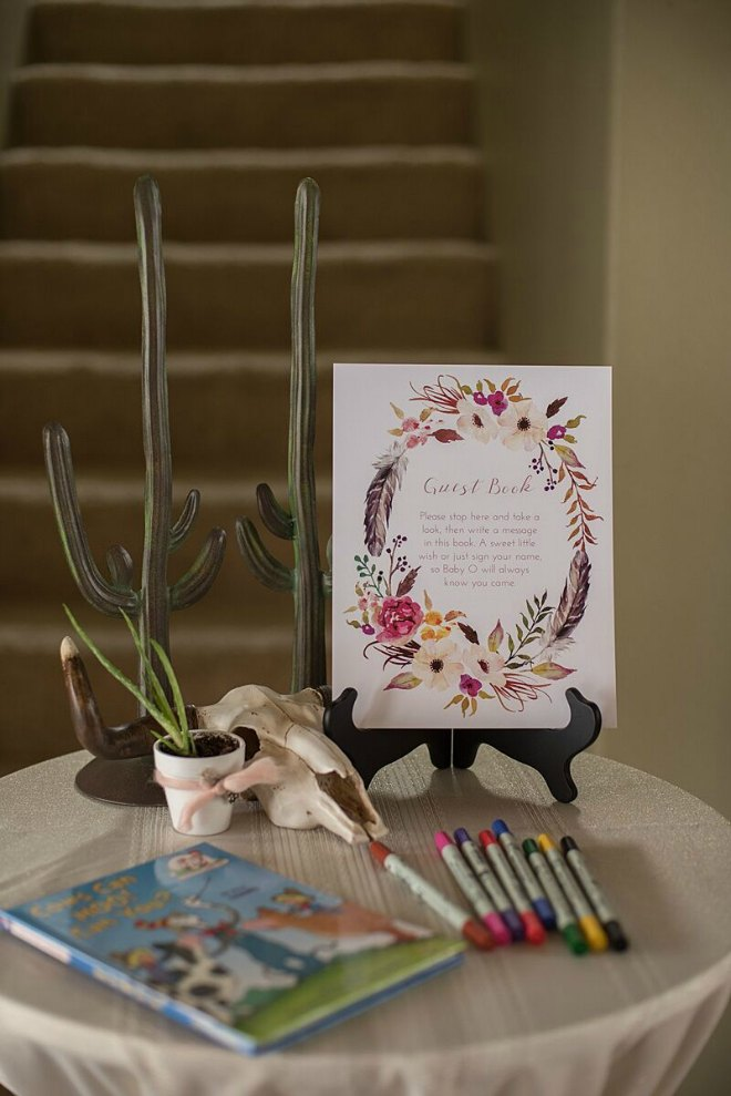 Boho baby shower guest book