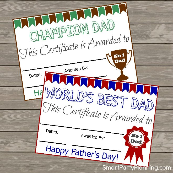 Fathers Day Certificates