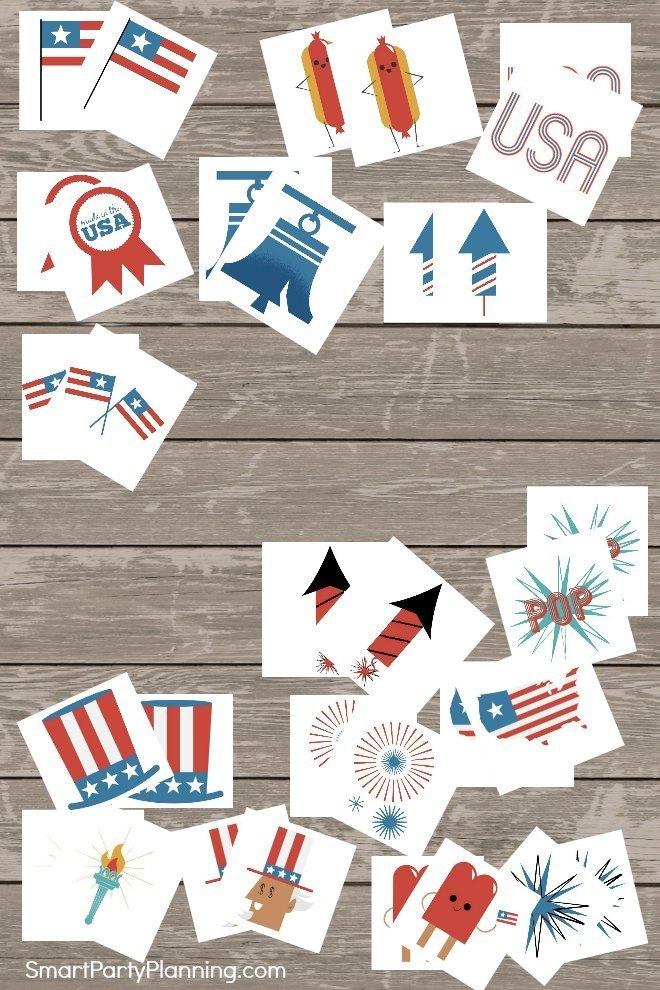 Printable 4th of July memory game