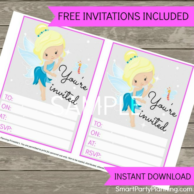 Pink fairy invitations