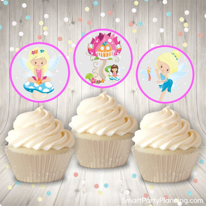 pink fairy cupcake toppers