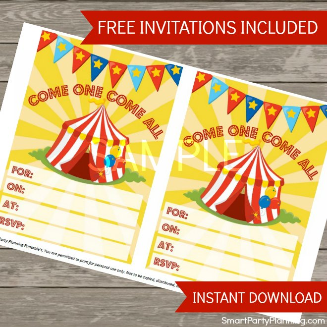 Free circus party invitations