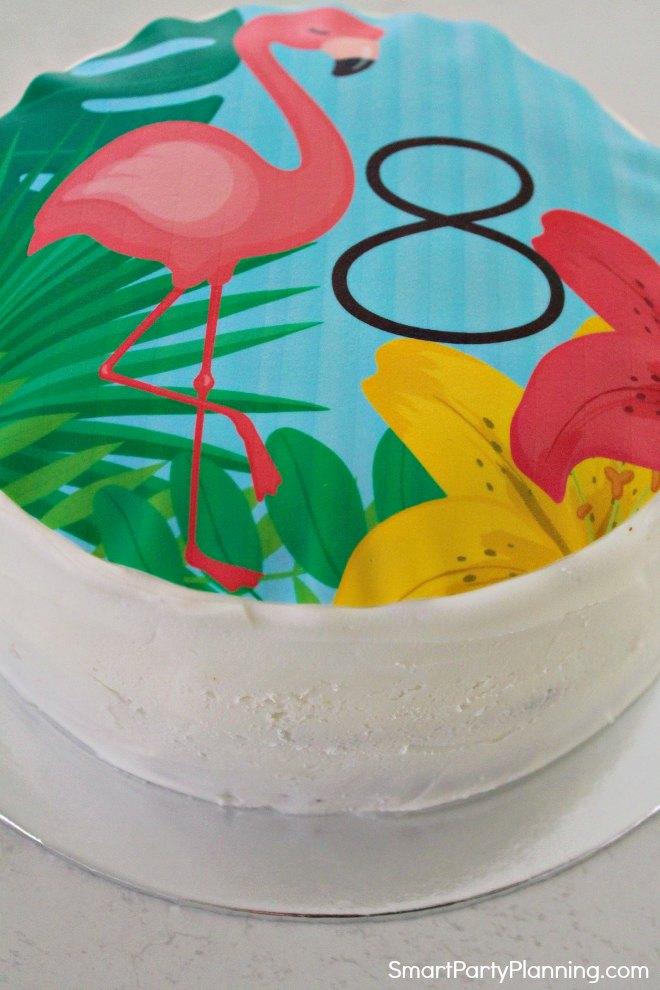 Flamingo Cake Topper on the cake