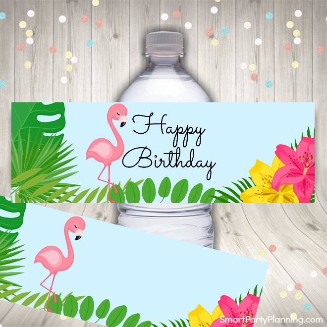 Tropical Water Bottle Labels