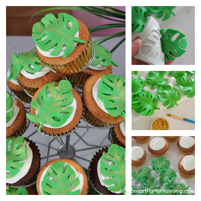How to easily make tropical leaf cupcakes
