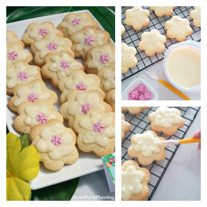 Collage of how to make easy flower cookies
