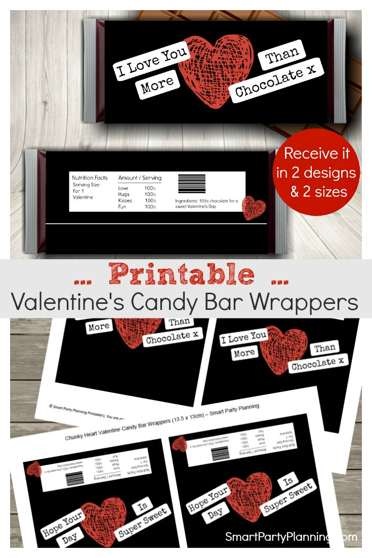 Printable Candy Wrappers For Valentines Day