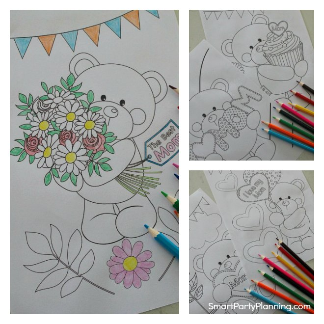 Adorable bear mother's day coloring sheets