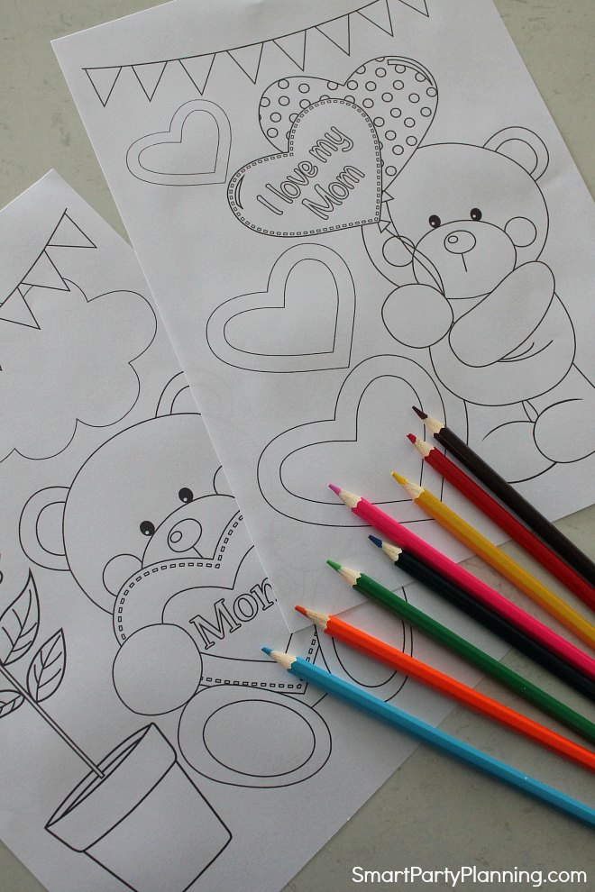Adorable bear mothers day coloring sheets