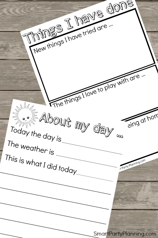 Pages for kids to record their activities during the coronavirus