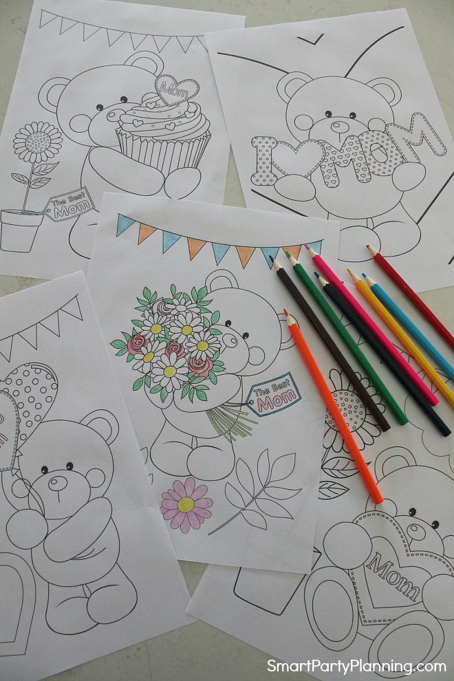 Set of 5 mothers day coloring pages