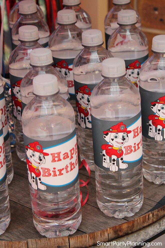 Paw Patrol Water Bottle Labels