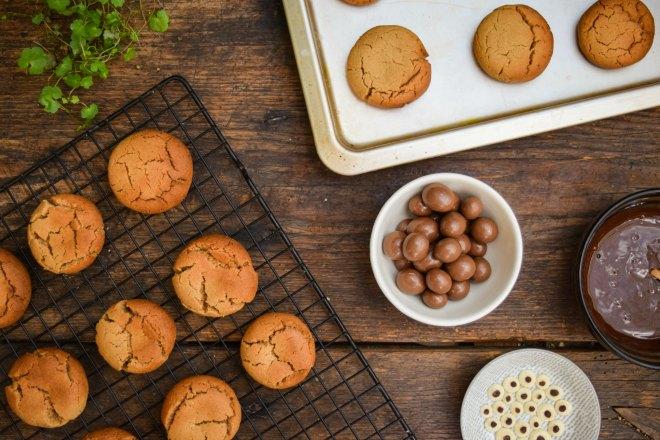 Decoration ingredients to make spider cookies