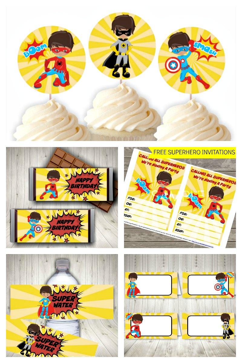 Yellow Superhero Party Printable Set