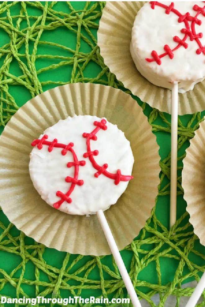 Baseball cakes on a stick