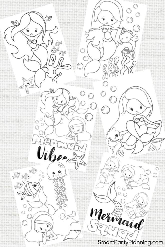 6 adorable Mermaid Coloring Pages