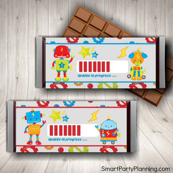 Robot Birthday Party Candy Bar Wrappers
