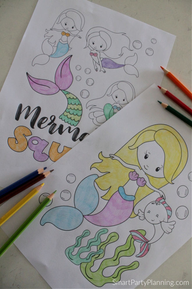 Swimming mermaids coloring pages