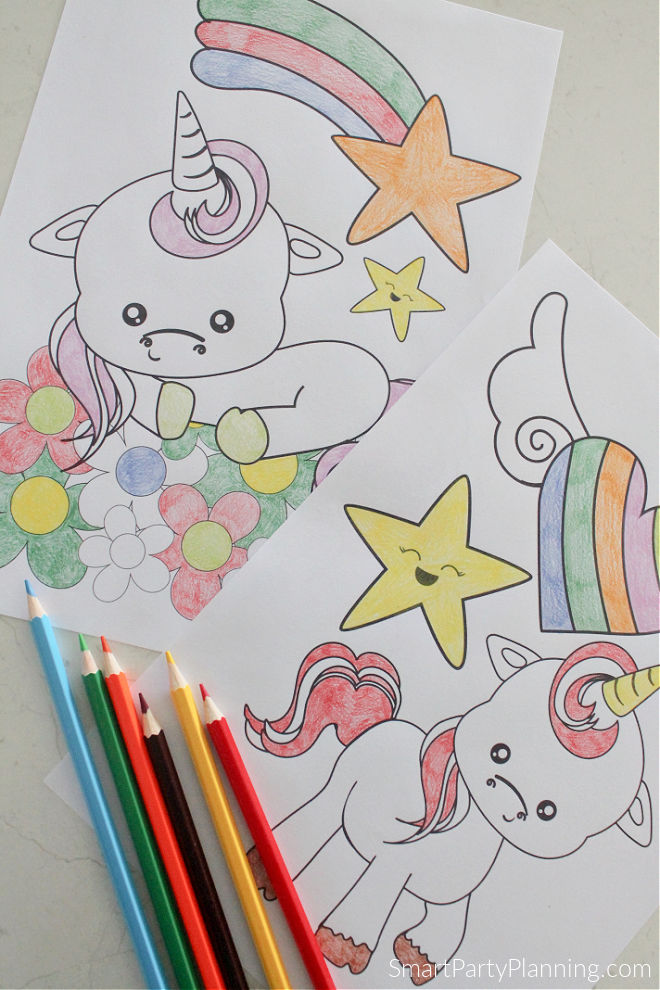 2 adorable unicorn coloring pages