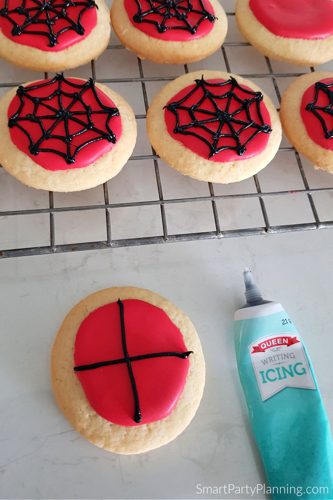 Add a cross webbing to the spiderman cookie