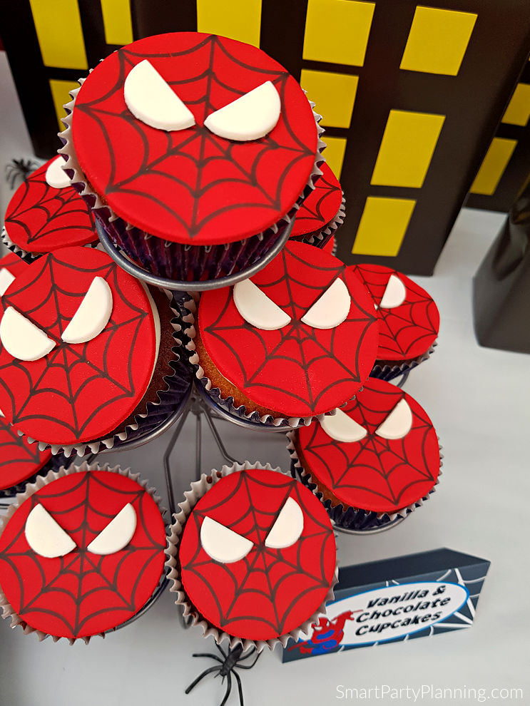 Aerial view of spiderman cake toppers