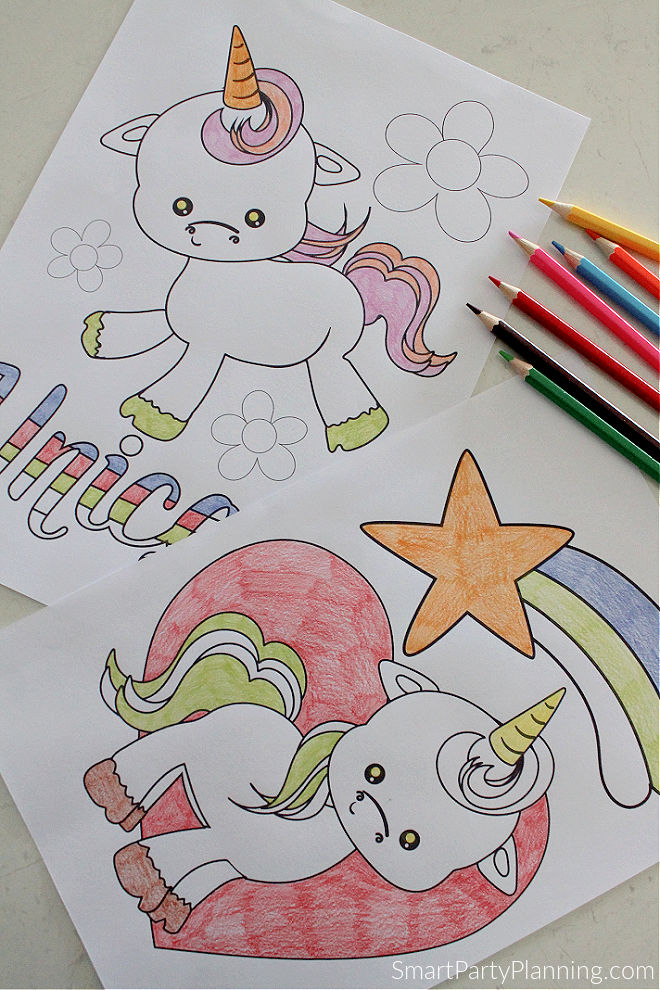 Baby Unicorn and heart coloring pages