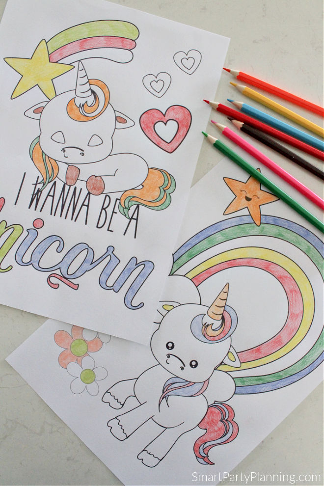 Baby unicorn and rainbow coloring pages