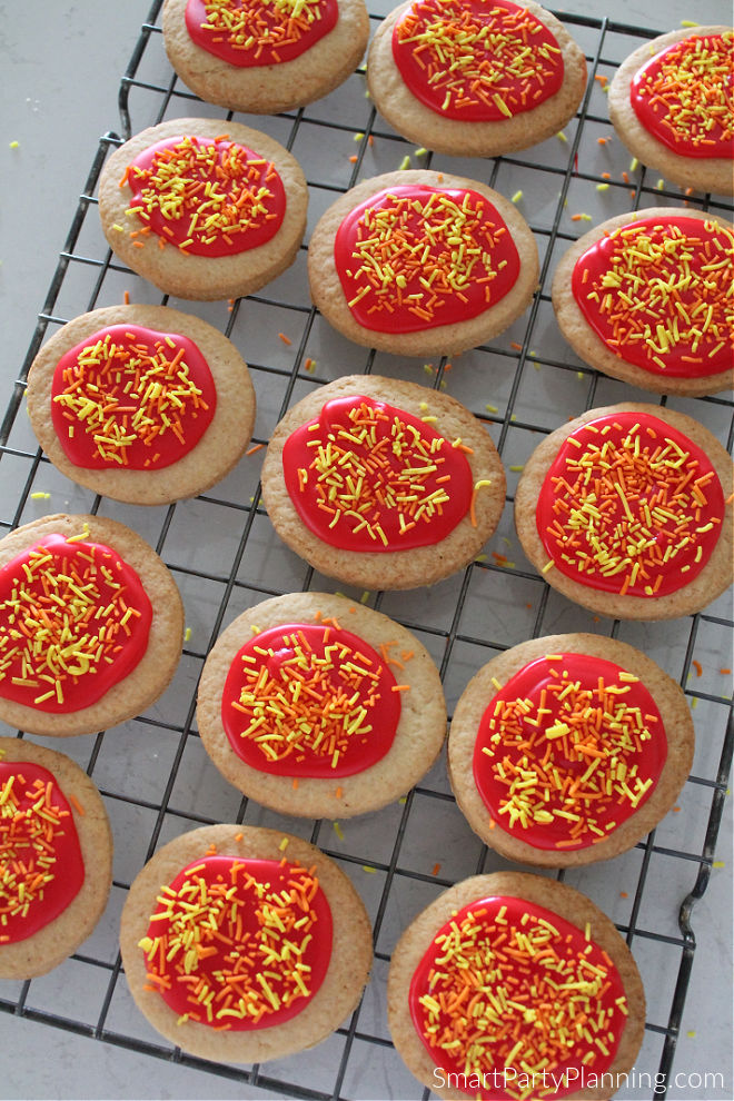 Fire cookies on a wire tray