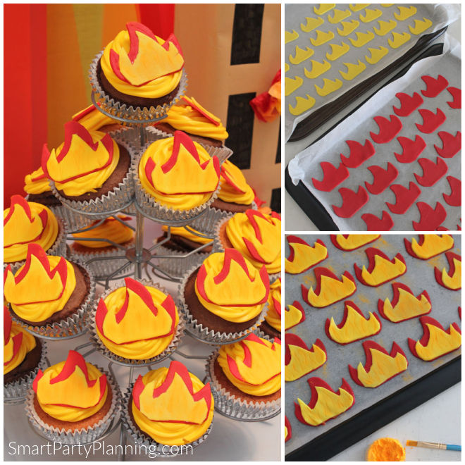 Fire topper cupcakes