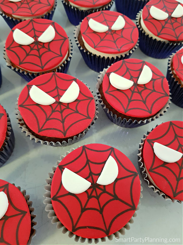 Freshly made Spiderman cupcakes