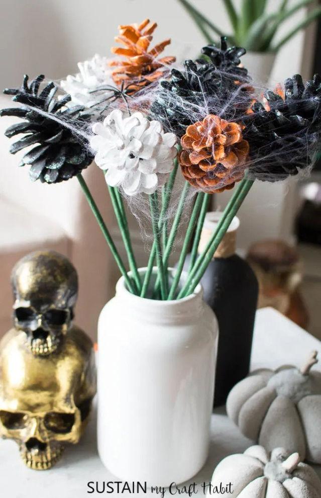 Halloween pine cones