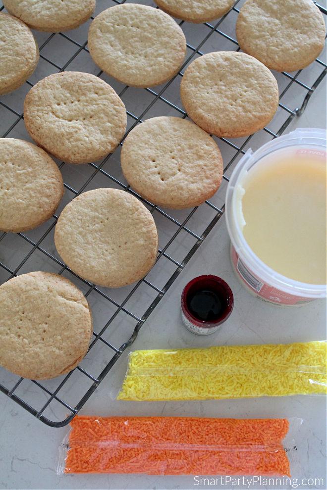 Ingredients to make flame cookies