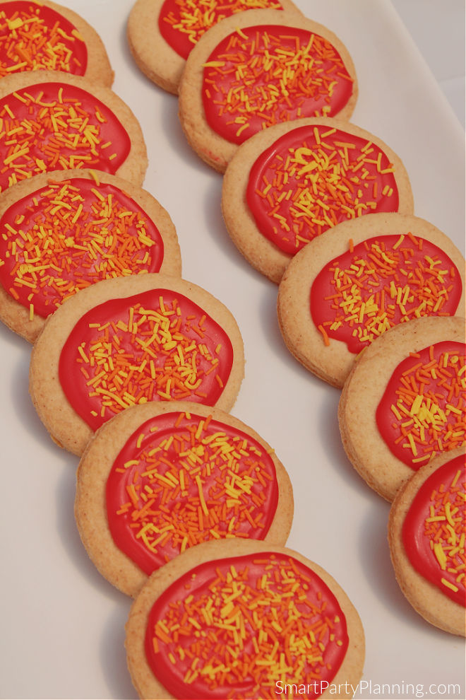 Red hot flame cookies