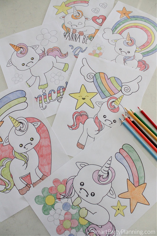 Set of 6 Unicorn coloring pages