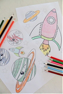 Space coloring pages for kids free