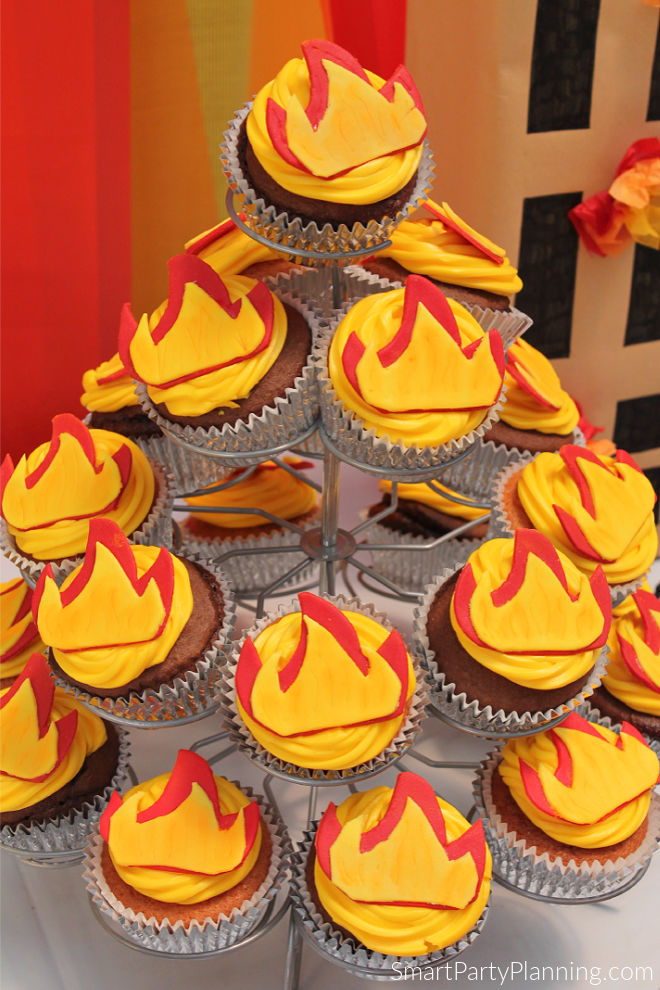 Stand of fire cupcakes