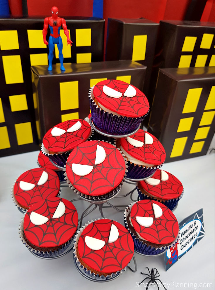 Stand of spiderman cupcakes